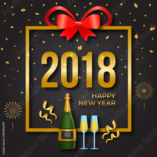 modern happy new year 2018 card illustration suitable for greeting card party invitation
