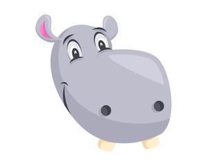 Cute Hippo Face Emoticon Emoji Expression Illustration - Happy
