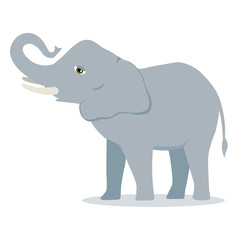 Vector cartoon elephant large concave back mammal asian elephant african bush with large ears illustration isolated on white
