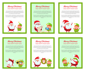 Set of Merry Christmas Cards Vector Illustration