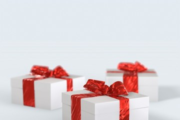 Christmas New Year colorful gift boxes with bows of ribbons on the white background. 3d illustration with space for your text