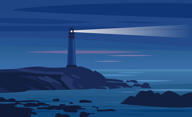 Lighthouse on a rock at night. Vector illustration