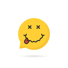 drunk yellow emoji speech bubble logo on white