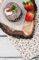 Chocolate belgian waffles with strawberries