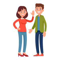 Young smiling couple in casual clothes. Cheerful girl waving her hand. Vector illustration of a joyful young man and a young woman on a light background.