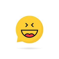laugh emoji speech bubble logo on white background