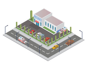Modern Isometric Hospital Building Illustration