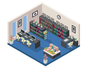 Modern Isometric Book Library Interior Design in isometric view