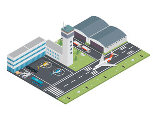 Modern Urban Airport Terminal Isometric Illustration, Suitable for Diagrams, Infographics, Illustration, And Other Graphic Related Assets
