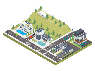 Modern Luxury Isometric Green Solar Panel Eco Friendly Housing Complex, Suitable for Diagrams, Infographics, Illustration, And Other Graphic Related Assets