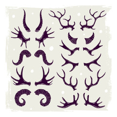 Set of illustrations with horns of animals.  Can be used for scrapbook, postcards, stickers, print, etc.