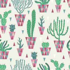 Aluminium Prints Plants in pots Seamless pattern with different cacti. Can be used on packaging paper, fabric, background for different images and etc.