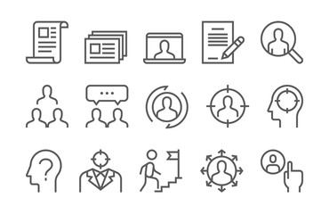 Headhunting Related Vector Line Icons Set. Business people, Communication and Team work.