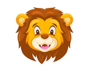 Cute Smiling Lion Face Emoticon Emoji Expression Illustration