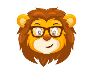 Cute Geek Lion Face Emoticon Emoji Expression Illustration