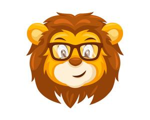 Cute Geek Lion Face Emoticon Emoji Expression Illustration