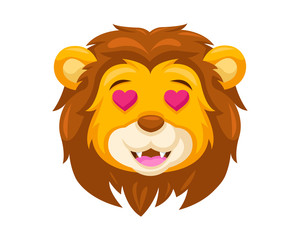Cute Falling In Love Lion Face Emoticon Emoji Expression Illustration
