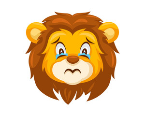 Cute Sad Lion Face Emoticon Emoji Expression Illustration