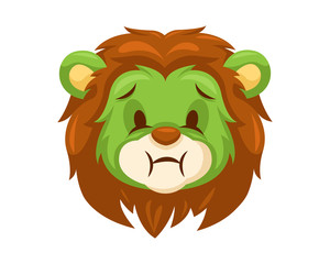 Cute Vomiting Lion Face Emoticon Emoji Expression Illustration