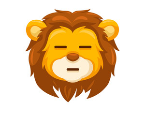 Cute Straight Face Lion Face Emoticon Emoji Expression Illustration