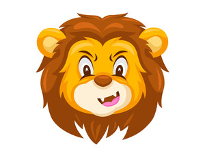 Cute Skeptical Lion Face Emoticon Emoji Expression Illustration