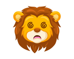 Cute Dizzy Lion Face Emoticon Emoji Expression Illustration