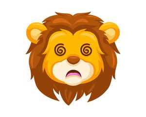 Cute Dizzy Lion Face Emoticon Emoji Expression Illustration