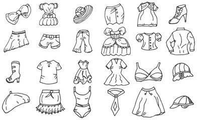 Fashion and clothing icons vector doodle collection. Vector eps 10.