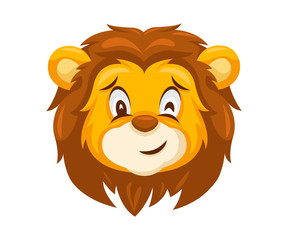 Cute Lion Face Emoticon Emoji Expression Illustration - Wink