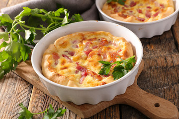 homemade quiche with bacon and egg