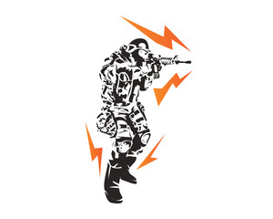 Passionate Soldier In Action Symbol
