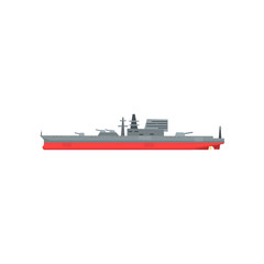 Colored icon of large military tanker. Ship with naval artillery. Combat boat. Flat vector illustration. Graphic design element for mobile game