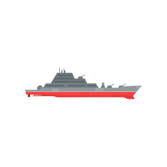 Colored military warship with radar and guns fixed on it. Naval boat with artillery. Graphic design for sticker, poster or mobile game. Flat vector illustration