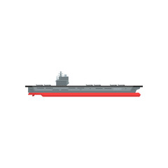 Large cartoon aircraft carrier with military planes on board. Marine vessel. Graphic design element for sticker, mobile or computer game. Flat vector illustration