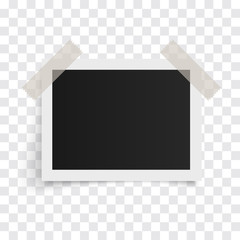 Rectangle photo frames on sticky tape on a transparent background. Vector illustration.