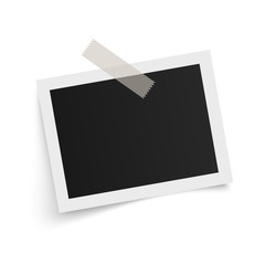 Rectangle photo frame template with shadows on sticky tape on white background. Vector illustration.