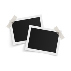 Wall Mural - Rectangle photo frames on sticky tape on white background. Vector illustration.