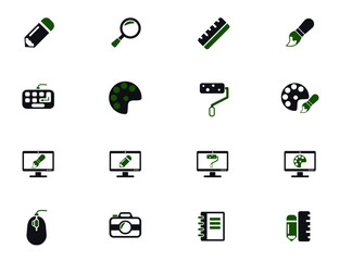 design simple vector icons in two colors