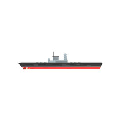 Armed military boat with radar and lot of cannons. Cartoon icon of warship. Large ship with weapons. Hi-speed water vessel. Flat vector design for poster, website, mobile app