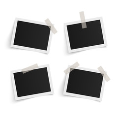 Set of rectangle vector photo frames on sticky tape on white background. Template photo design. Vector illustration