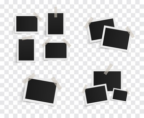 Set of rectangle vector photo frames on sticky tape on a transparent background. Template photo design. Vector illustration