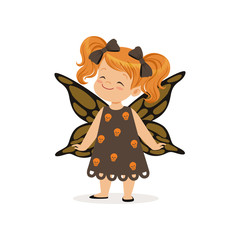 Little girl dressed as a butterfly, cute kid in halloween costume vector Illustration