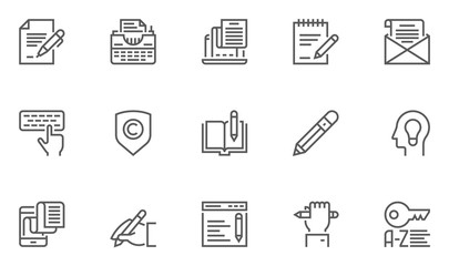Set of Copywriting Vector Line Icons. 48x48 Pixel Perfect.