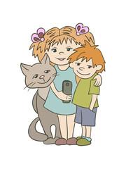Kids and cat taking selfie.