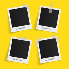 Wall Mural - Set of polaroid vector photo frames on sticky tape on yellow background. Template photo design. Vector illustration