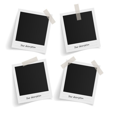 Set of polaroid vector photo frames on sticky tape on white background. Template photo design. Vector illustration