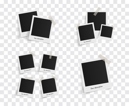 Set of polaroid vector photo frames on sticky tape on a transparent background. Template photo design. Vector illustration