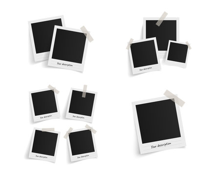 Set of polaroid vector photo frames on sticky tape on white background. Template photo design. Vector illustration