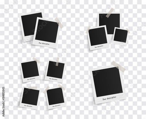 Wall mural Set of polaroid vector photo frames on sticky tape on a transparent background. Template photo design. Vector illustration