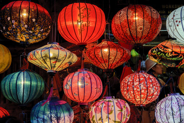 Chinese lanterns on a night market of the city of Hoi An in Vietnam.